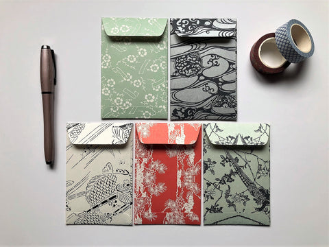 Japanese nature motifs money envelopes for Lunar New Year, Christmas, Eid, weddings, birthdays in wide design, for men and women