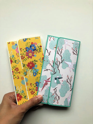Yellow flowers and blue cranes long money envelopes set of 2 for Chinese New Year, Christmas, Eid, kids birthdays, baby showers