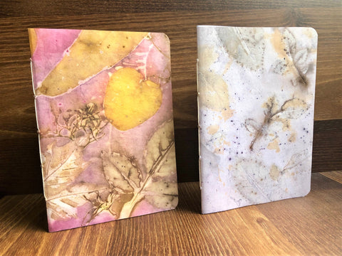 hanakrafts x melo.handmades Mother's Day collection: pink and white hand-dyed notebooks set of 2