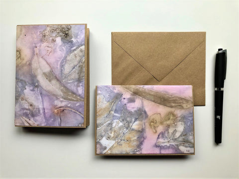 hanakrafts x melo.handmades Mother's Day collection: hand-dyed card sets on kraft paper with matching envelopes (set of 4)