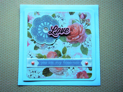 Love and Happiness floral card for Valentine's Day, wedding anniversaries