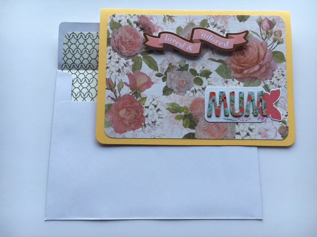 Yellow floral Mother's Day card--loved and adored