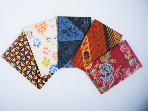 Modern batik money envelopes for Eid--set of 5 in wide design