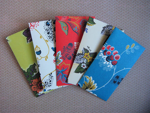 Lovely florals Eid money envelopes--set of 5 in tall design