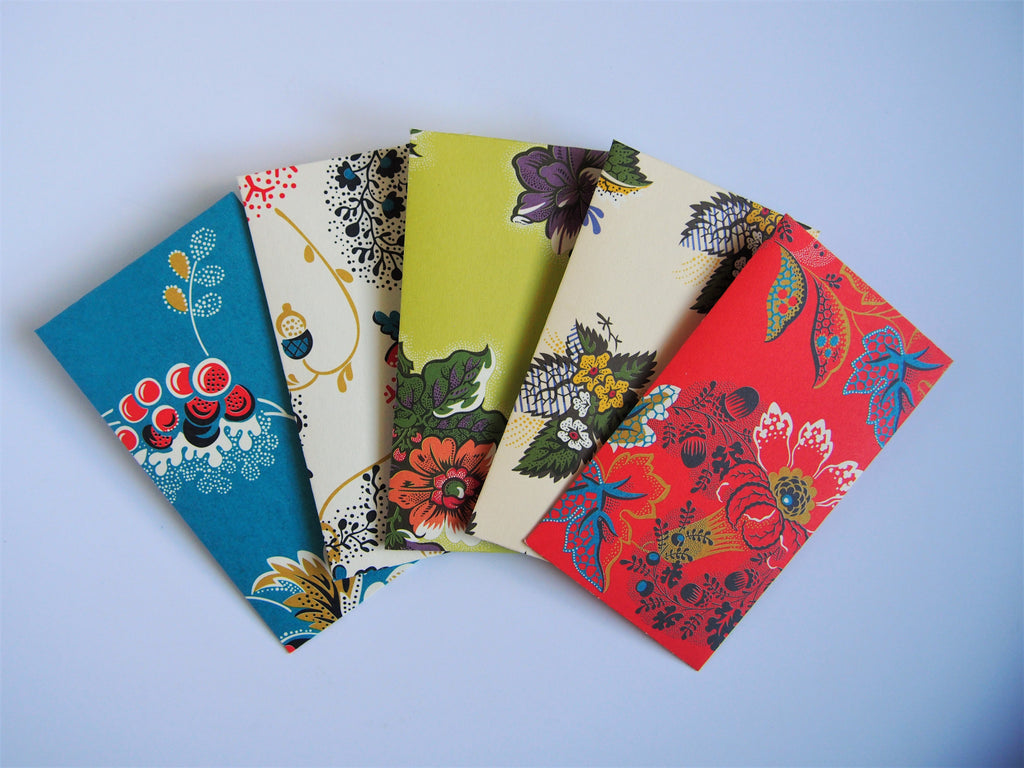 Lovely florals money envelopes for Eid--set of 5 in tall or horizontal designs