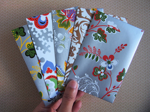 Glossy florals money envelopes for Eid and Christmas--set of 5 in wide design, weddings, baby showers, gift cards, vouchers