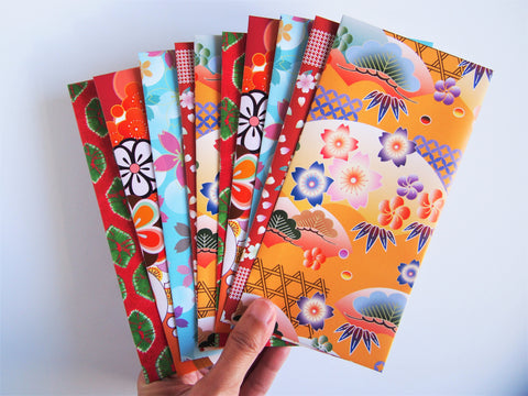 Bright and beautiful origami money envelopes for Eid and Lunar New Year--set of 10 in jumbo design