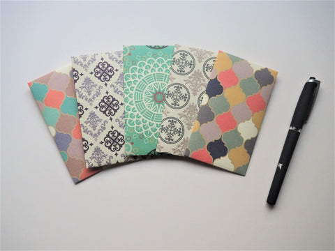 Traditional Moroccan tiles money envelopes--set of 5 in tall design