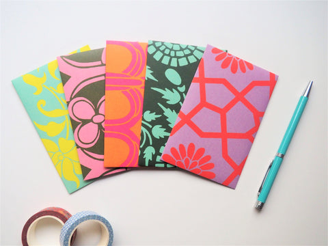 Bright paisley money envelopes--set of 5 for fun Christmas gift, boho and retro weddings