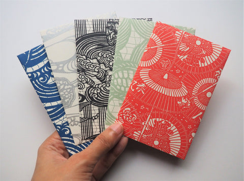 Japanese swirls and flourishes money envelopes--set of 5 in jumbo or wide size