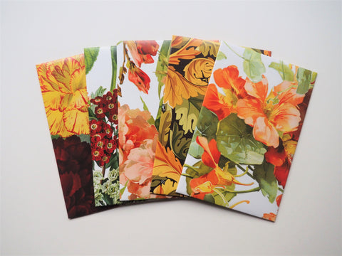 Peachy blooms money envelopes for Eid, Chinese New Year and Christmas--set of 5 in wide or horizontal size