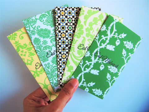 Evergreen Eid Mubarak stamped money envelopes--set of 5 in tall or horizontal design