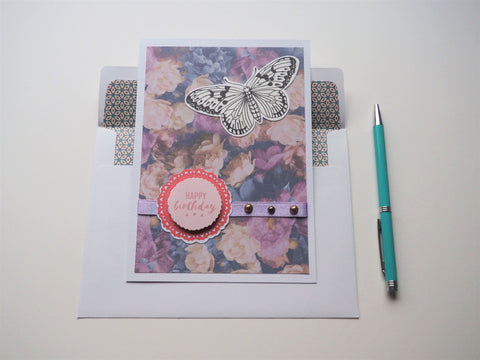 Purple floral Happy Birthday handmade card with butterfly, ribbon and pearls embellishments--gift for her