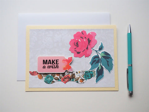 Make A Wish birthday card on cream with a single rose--handmade gift for her