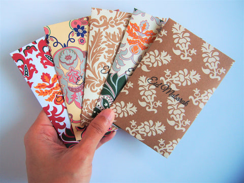 Elegant arabesque Eid Mubarak stamped money envelopes--set of 5 in wide design