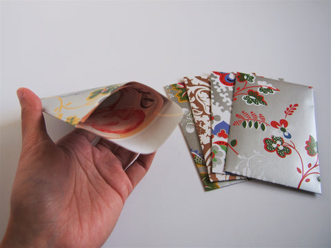 Glossy florals money envelopes for Eid and Hari Raya--set of 5 in wide design