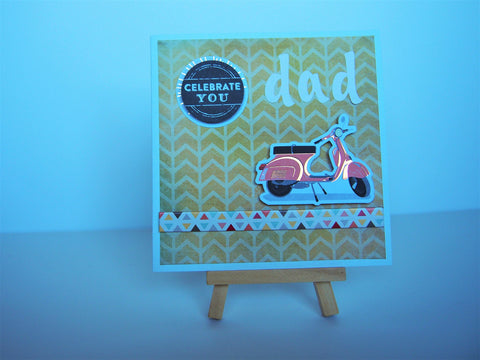 'Celebrate You Dad' Father's Day or birthday card featuring retro vintage Vespa scooter