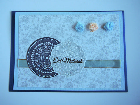 Eid Mubarak stamped greeting card in light blue