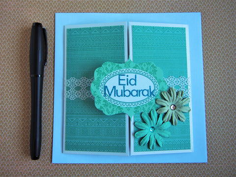 Unique square gatefold Eid Mubarak card in emerald green