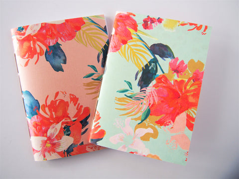 Pearl pink and emerald green flowers hand-bound notebooks--set of 2