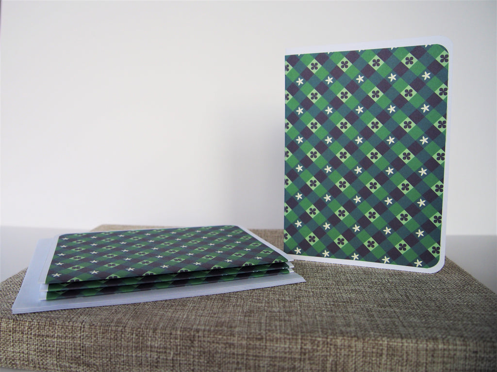 Forest green weaves elegant card set--set of 4 handmade cards and matching lined envelopes