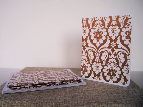 Gold arabesque sophisticated card set--set of 4 handmade blank cards and matching lined envelopes