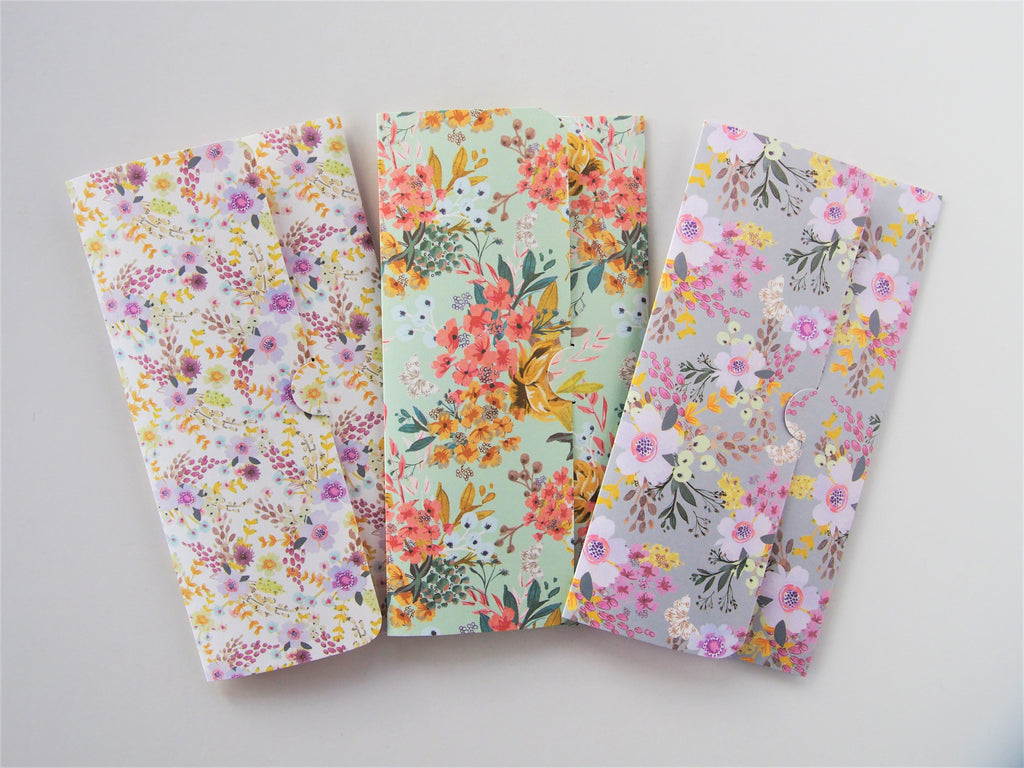 Sweet bouquets handmade money envelopes, gift card holders or voucher holders--set of 3