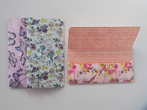 Elegant flora and fauna handmade money envelopes--set of 3