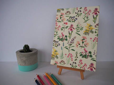 Mother's Day recipe journal with exposed coptic stitch binding and pretty floral cover