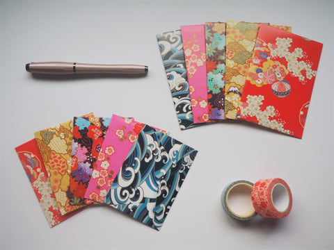 Japanese nature designs on bright washi paper--set of 5 in wide or horizontal sizes