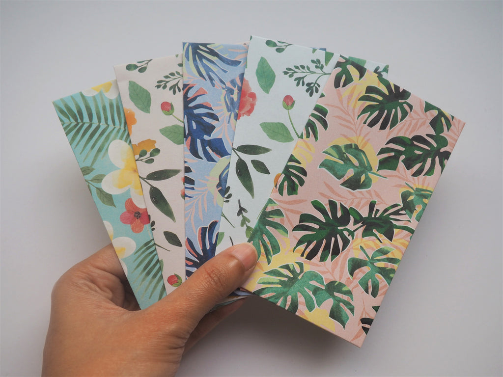 Pastel contemporary botanical money envelopes with ferns and monstera--set of 5 in tall design, for Christmas, CNY and scrapbooking