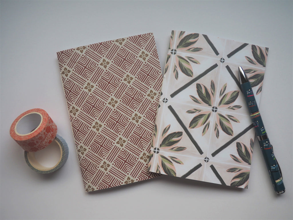 Traditional Asian tiles notebook set in maroon and white--set of 2 for those who love architecture and travel