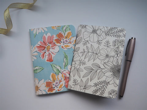 Sketched wildflowers in monochrome and pastel blue--set of 2 notebooks for the flower and nature lovers