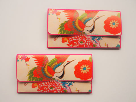 Graceful crane origami paper money envelopes--set of 2