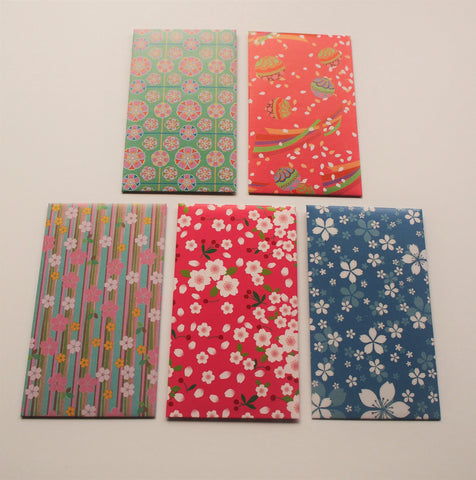 Sweet cherry blossom money envelopes--set of 5