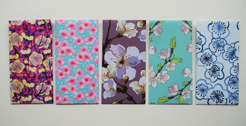 Dainty cherry blossoms with watercolour effect--set of 5 money envelopes in a jumbo size