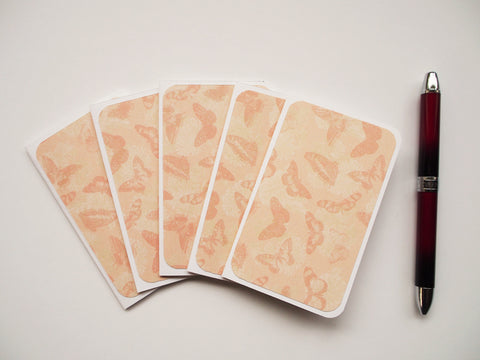 Butterflies in sepia mini notecards--set of 5