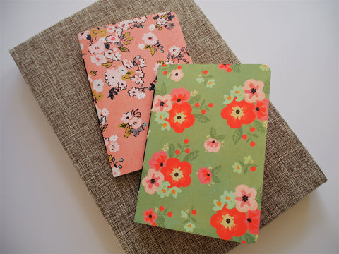 Watercolour florals notebook set in peach and green--set of 2 for Mother's Day