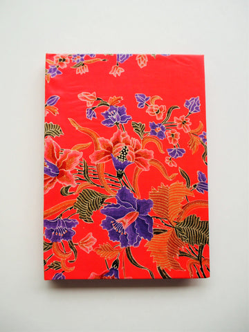 Deep orange Peranakan batik A6 handbound notebook