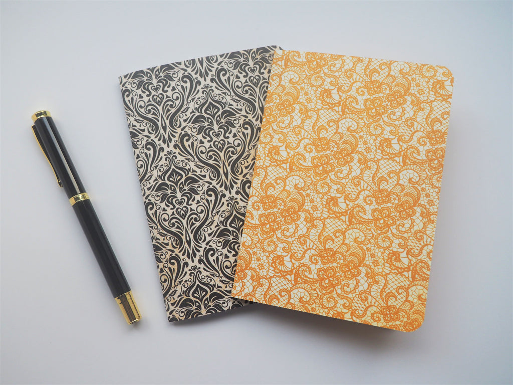 Golden lace and licorice damask notebooks set of 2--for Mother's Day, Christmas, birthdays, weddings