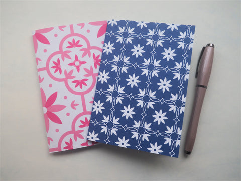 Pink and blue abstract floral tiles notebooks set of 2--for Mother's Day, Christmas, birthdays