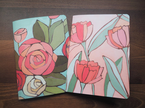 Watercolour tulips and roses A5 notebooks set of 2--for mother and child on Mother's Day, birthdays, Christmas