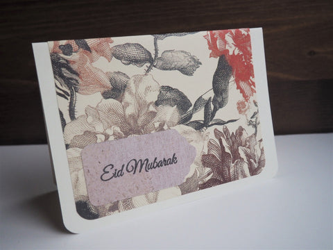 Rustic floral Eid Mubarak handmade cards--set of 4 blank cards with matching lined envelopes