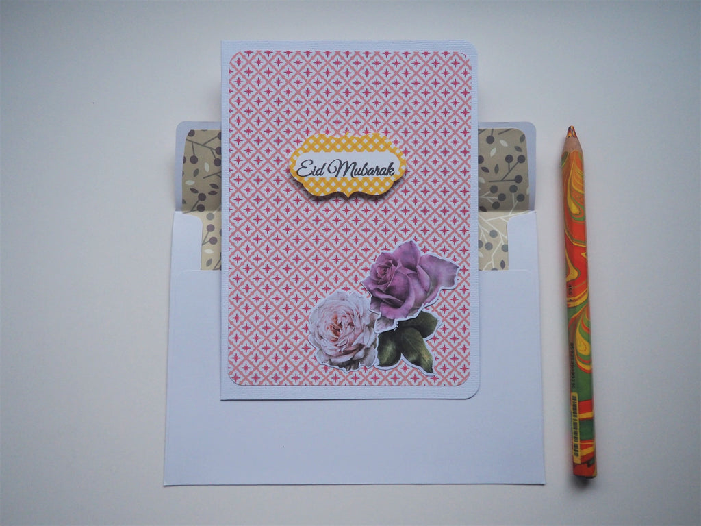 Pink Peranakan tiles Eid Mubarak card with floral embellishments and matching lined envelope