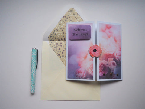 Elegant purple Selamat Hari Raya card with matching lined envelope