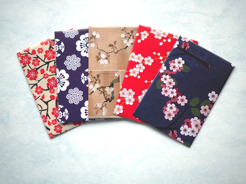 Abstract sakura money envelopes for Eid, Christmas and Chinese New Year--set of 5 handmade envelopes in wide design