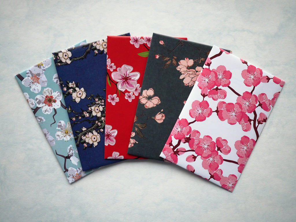 Japanese watercolour sakura money envelopes for Eid--set of 5 in wide design