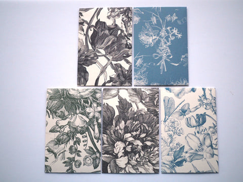 Monochrome painted florals money envelopes for Eid--set of 5 in wide design