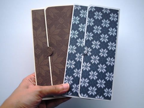 Blue and brown classic songket design long money envelopes and voucher holders--set of 2