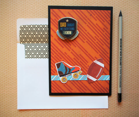 Sporty Father's Dad card in brown, black and blue with matching lined envelope